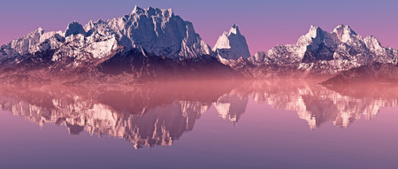 Snow peaks mountain landscape with misty lake at sunrise. Panorama shot.