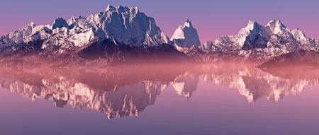 Snow peaks mountain landscape with misty lake at sunrise. Panorama shot.