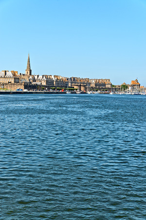 st malo: The port of Saint Malo with blue sky. Brittany. France.