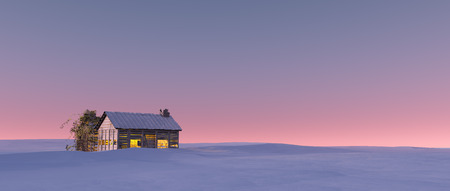 chalet: Winter snow landscape at sunset with solitude cabin.