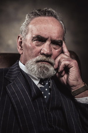 In chair sitting characteristic senior business man. Gray hair and beard wearing blue striped suit and tie. Against brown wall. photo