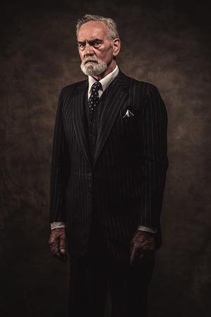 Charakteristisch Senior Business Mann mit grauen Haaren und Bart tragen blau gestreiften Anzug und Krawatte. Gegen braunen Wand. Standard-Bild - 32035073