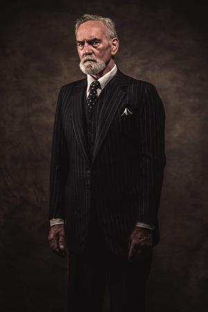 Characteristic senior business man with gray hair and beard wearing blue striped suit and tie. Against brown wall. Stockfoto
