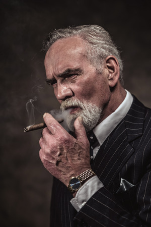 characteristic: Cigar smoking characteristic senior business man with gray hair and beard wearing blue striped suit and tie. Against brown wall.