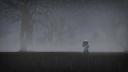 Serial killer with white mask holding bloody knife. Standing in misty winter forest at night. Low angle view. Stock Photo