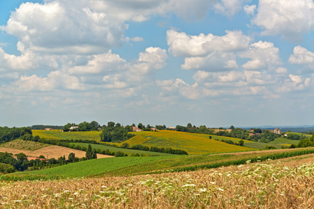 extensive: Extensive View of Brown and Green Fields Under Cloudy Sky Above. Stock Photo
