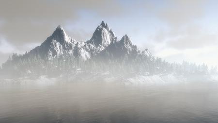 눈 덮힌 슬로프와 극적인 풍경 속에서 안개와 구름 위에 떠오르는 봉우리가있는 겨울의 장엄한 산악 지대 스톡 콘텐츠