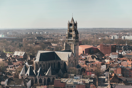 salvator: Overview of City Featuring Sint Salvator Cathedral on Sunny Day, Bruges, Belgium