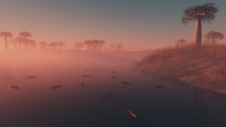 dinghies: Small boats moored on a lake at sunrise with a colorful pink low-lying mist clinging to the water and a grove of tropical trees