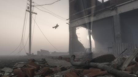 Airplane Flying Over Destroyed Ruins of City, Bombed Out Building Surrounded by Rubble with Airplane Flying By
