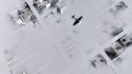 obscuring: Small single-engine private plane flying over a city above clouds partially obscuring the high-rise buildings, rooftop view