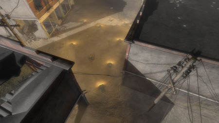 convoy: Vehicle Convoy with Illuminated Headlights Traveling Through Dusty Urban War Zone with Bombed Out Destroyed Buildings at Night, High Angle View from Building Rooftop Stock Photo