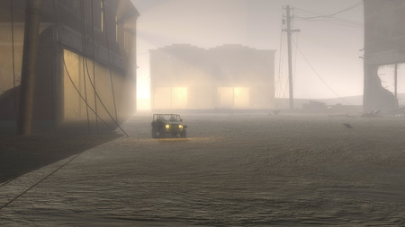 bombed: Military Jeep Vehicle with Illuminated Headlights Driving Through Destoyed Dusty Urban War Zone with Bombed Out Buildings Stock Photo