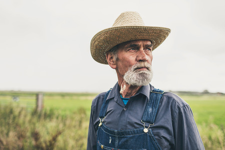 oldage: Close up Pensive Male Bearded Farmer with Straw Hat Standing at the Farm and Looking Into the Distance.