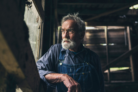 hombre solo: El hombre mayor mirando por una ventana de madera rústica en un antiguo granero rural o casa con una expresión seria pensativa