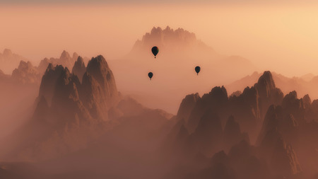 mist: High angle view of rocky mountain landscape with hot air balloons in the mist at sunrise.