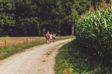 two women and one man: Rear View of One Man and Two Women Walking on Pathway in Field of Corn.