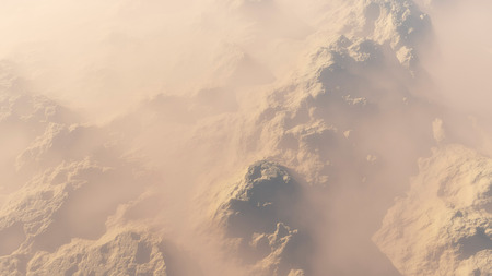 high angle view: Aerial of snow mountains in the mist.