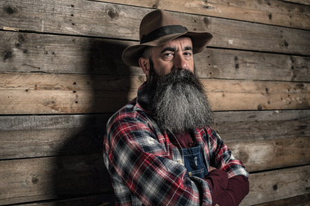 dungarees: Vintage worker man with long gray beard in jeans dungarees. Standing in front of wooden wall.