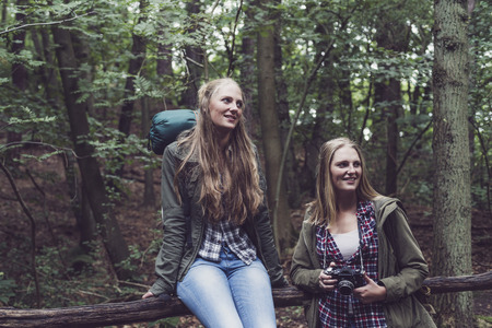 twin sister: Hiking twin sister in forest resting at wooden fence.