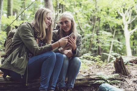 twin sister: Twin sister in forest using tablet.