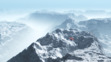 private airplane: Red private airplane over misty winter mountain landscape. Stock Photo