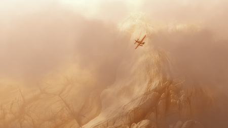 private airplane: Aerial of private airplane flying over rough mountain landscape in the mist. Stock Photo