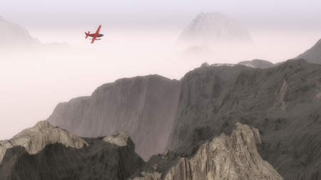 mountainside: Small red airplane over misty mountains.