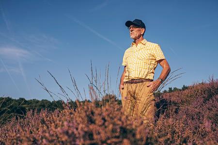 heathland: Retired man standing in summer heathland.