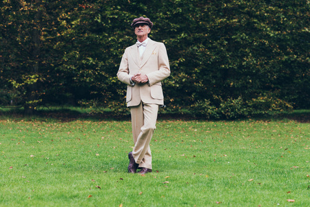 dandy: Dandy standing on lawn with tall hedge. Stock Photo