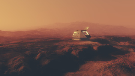 misty: Shuttle capsule on misty red planet. Stock Photo