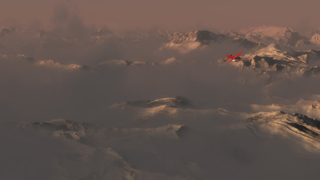 mountainside: Single engine airplane flying over mountains in evening mist. Stock Photo