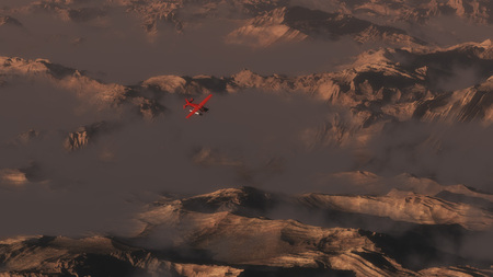 smoky mountains: Aerial of mountains in morning mist with single engine airplane flying over Stock Photo