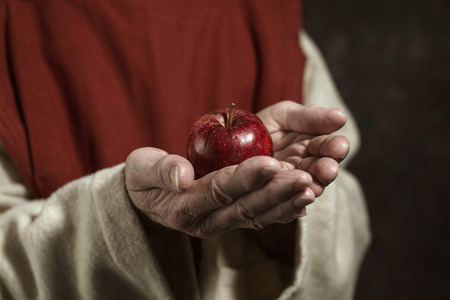 monastic: Close-up of monastic hands holding red apple.