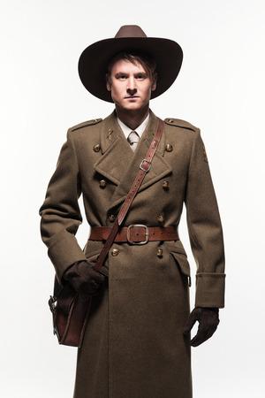double breasted: Ranger uniform fashion man against white background.