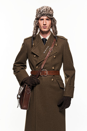 double breasted: Russian military uniform fashion man against white background. Stock Photo