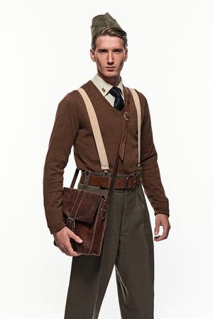 scouting: Scouting uniform fashion man against white background. Stock Photo