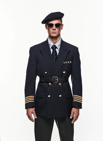 double breasted: Airforce uniform fashion man against white background.
