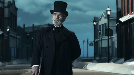 scrooge: Dickens Scrooge Man in Old Winter Street. Stock Photo