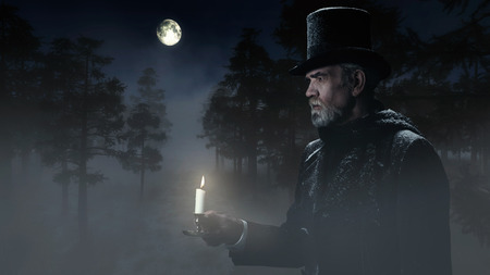 Dickens Scrooge Man with Candlestick Walking in Winter Forest at Moonlight.