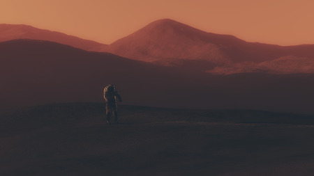 roaming: Astronaut walking on red planet.