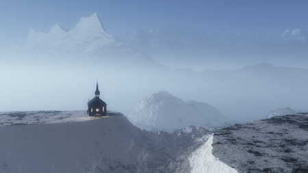 cliff edge: Chapel on hill in foggy mountain winter landscape.