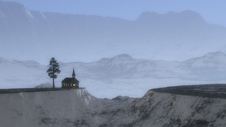 cliff edge: Chapel with fir tree on cliff in foggy winter mountain landscape. Stock Photo