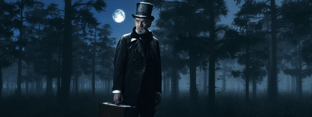 scrooge: Dickens Scrooge Man with Suitcase in Foggy Winter Forest at Moonlight. Stock Photo