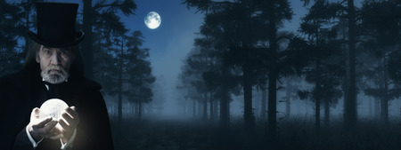 Illusionist Holding Illuminated Sphere in Foggy Winter Forest at Moonlight.