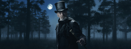Dickens Scrooge Man with Cane in Misty Winter Forest at Moonlight.