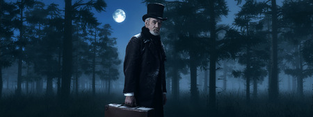 dickens: Dickens Scrooge Man with Suitcase in Foggy Winter Forest at Moonlight. Stock Photo