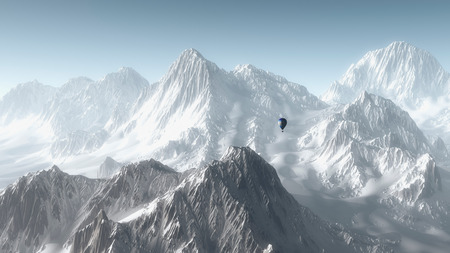 hot day: Hot air balloon flying over winter mountain landscape. Stock Photo