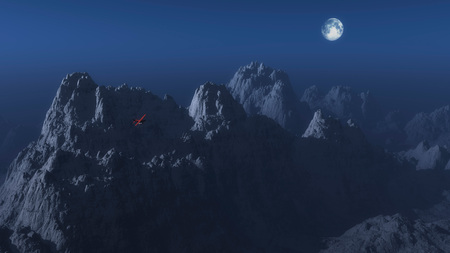 winter range: Single engine airplane over winter mountain landscape in moonlight.