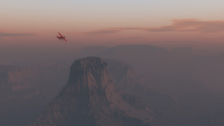 mountainside: Single engine airplane flying over desert landscape at sunrise.